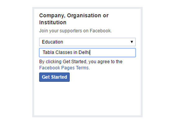 select category for page - create business page on facebook