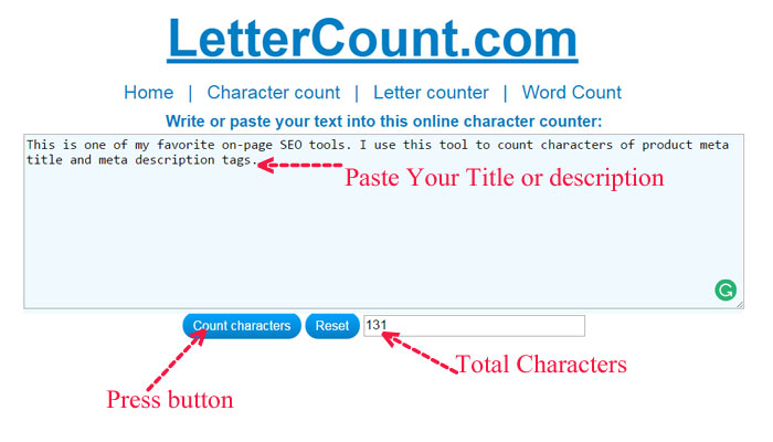 letter count on page SEO tool