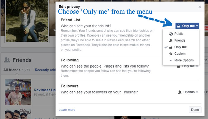 hide all Facebook friends from profile