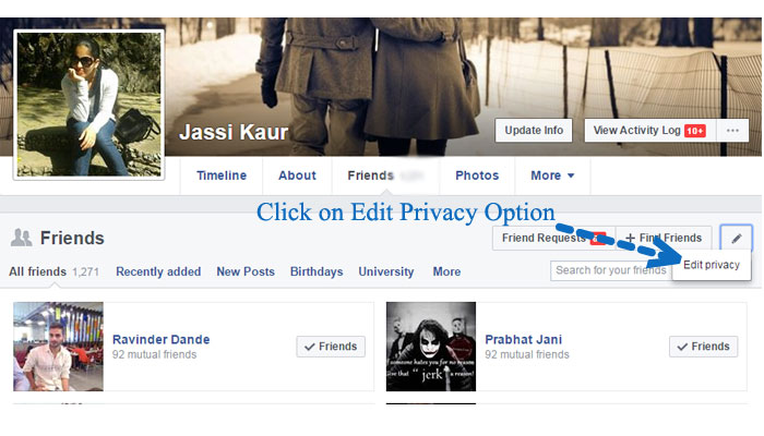how to hide friends from fb account